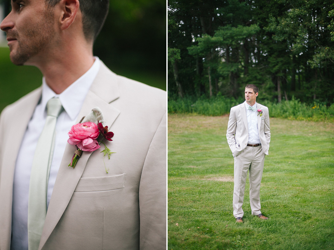 Boutonnière and Groom Portrait | Codman Estate Wedding - Lincoln, MA. | Kelly Burgess Photography