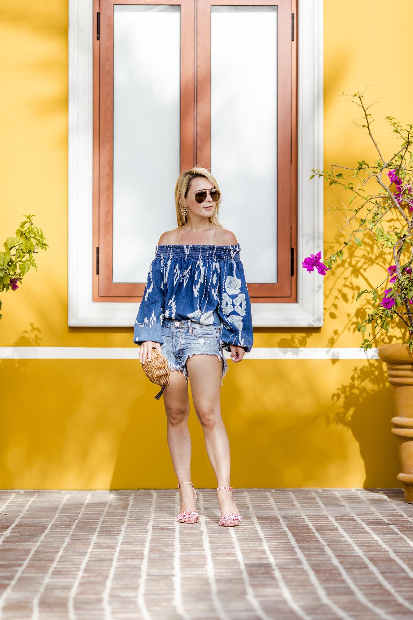 denim-shorts-off-the-shoulder-summer