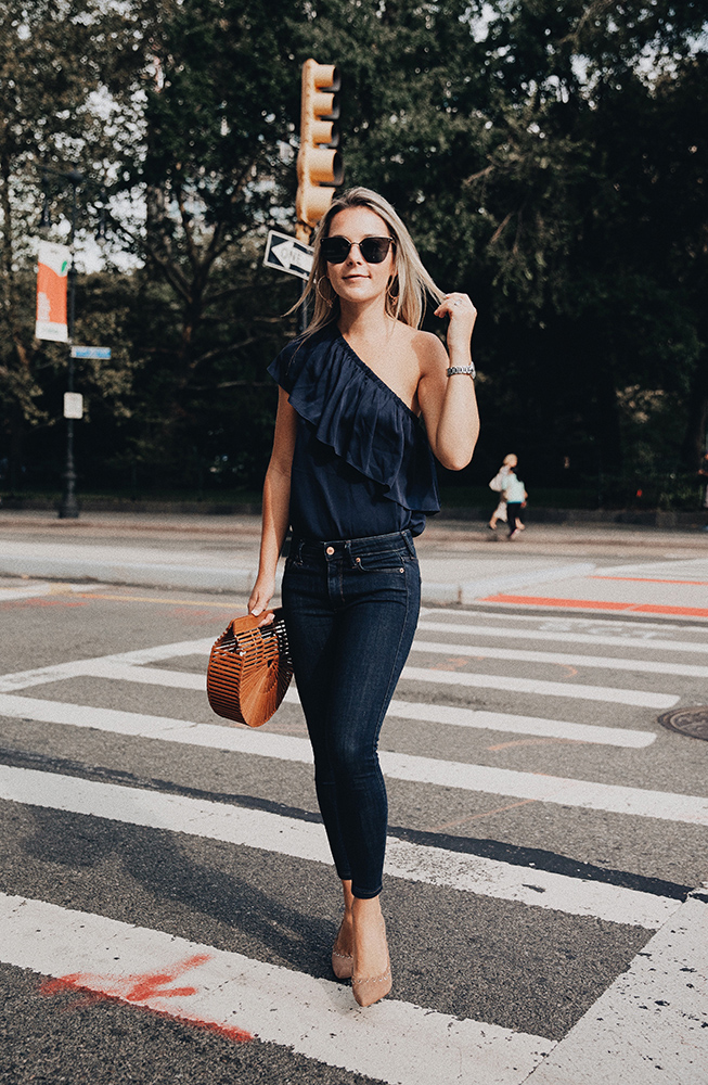 milly blue one shoulder top