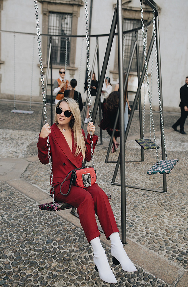 red suit trend furla presentation milan fashion week