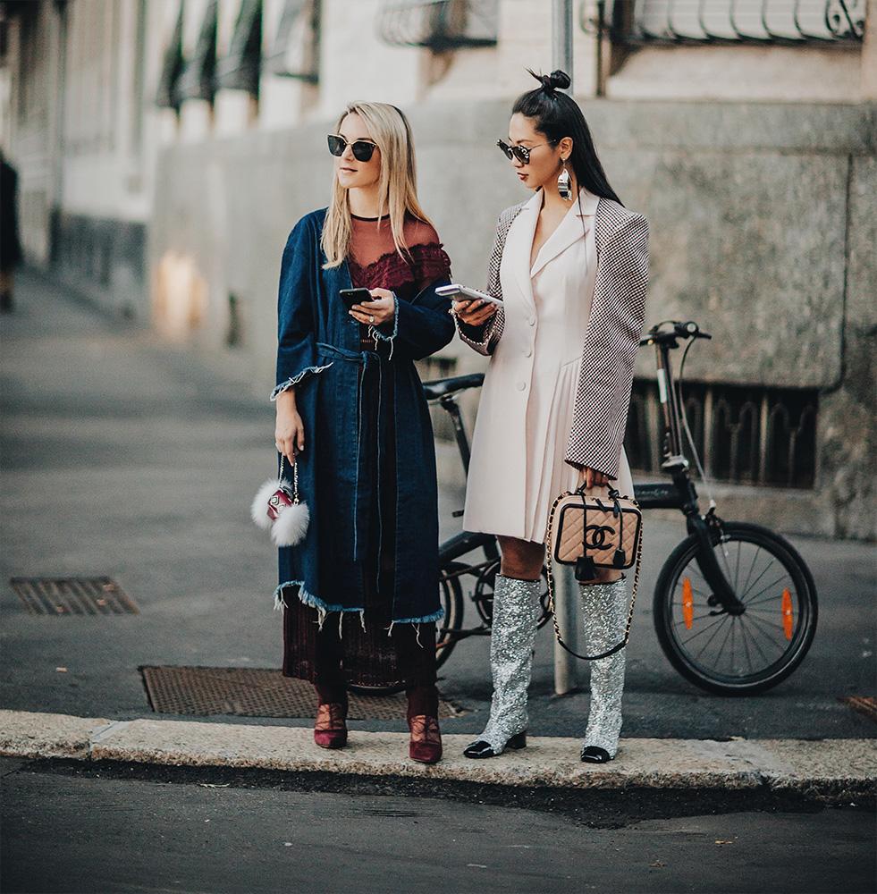denim dress robe milan fashion week