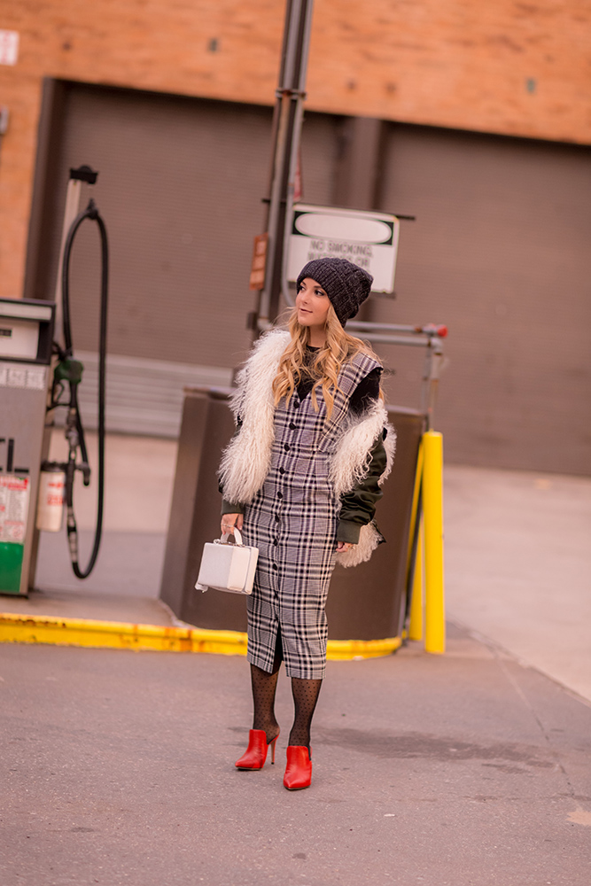 Christie Ferrari plaid dress workwear with red veronica beard mules and jacket
