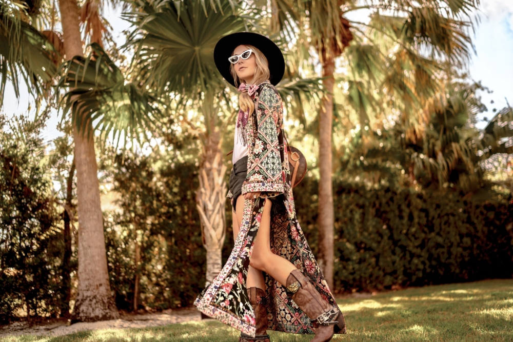 Christie Ferrari Styling kimono for festival season and Coachella