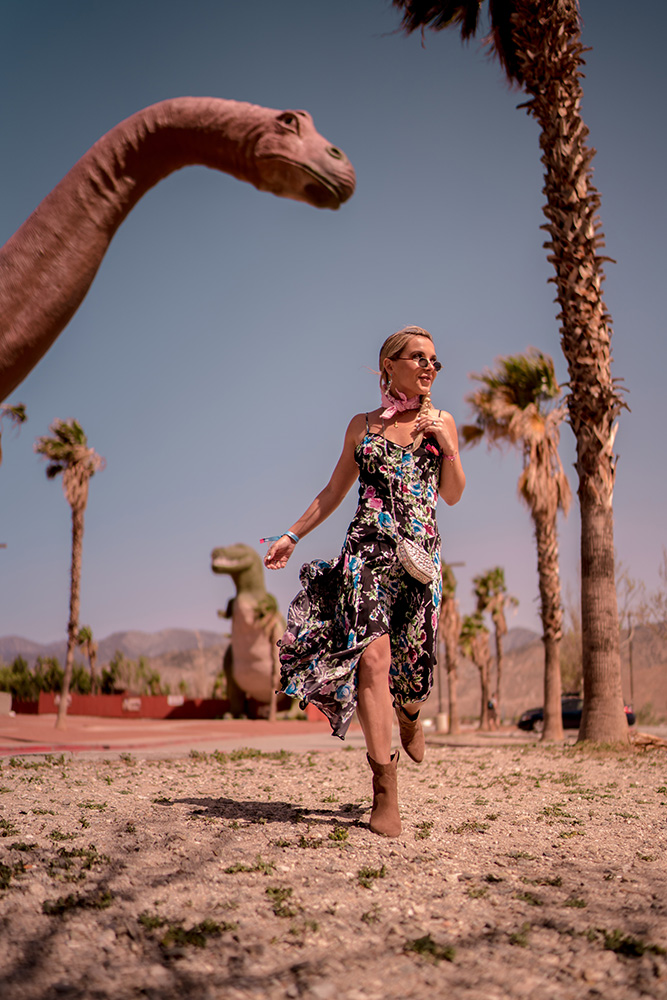 Christie Ferrari Coachella Outfit MILLY dress at Cabazon Dinosaurs