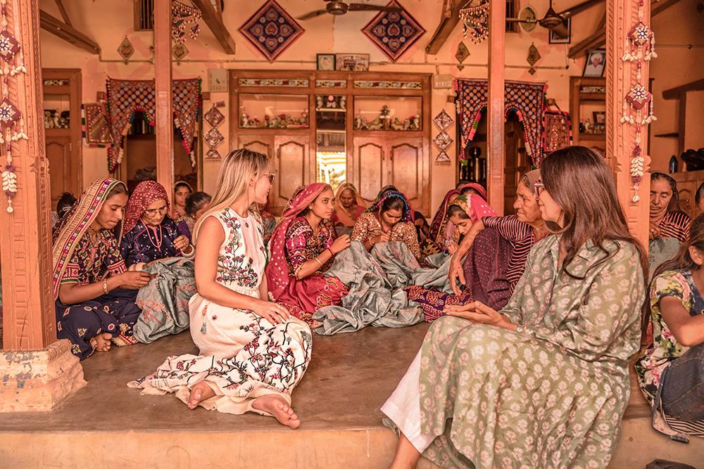 Christie Ferrari visits with Anita Dongre, Anita Dongre Grasroot india