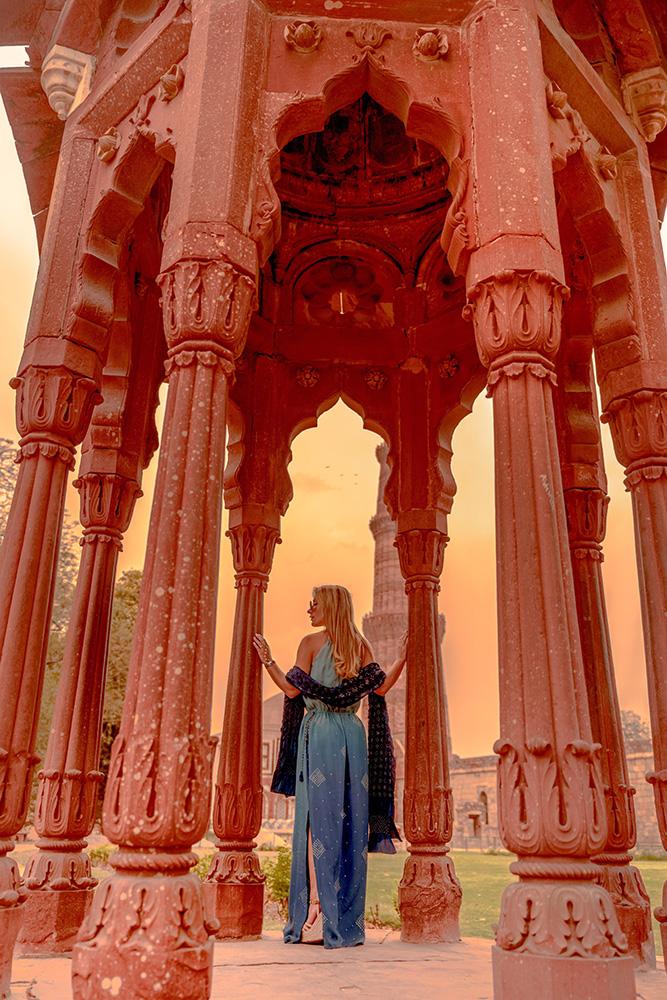 Christie Ferrari wears anita dongre blue dress in New Delhi, india