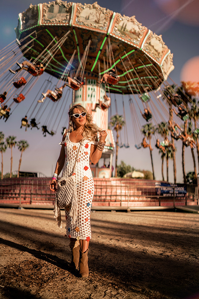 Christie Ferrari attends REVOLVE Festival in Coachella wearing Who What Wear's Thread Crossbody bag for Hot Bag Alert review