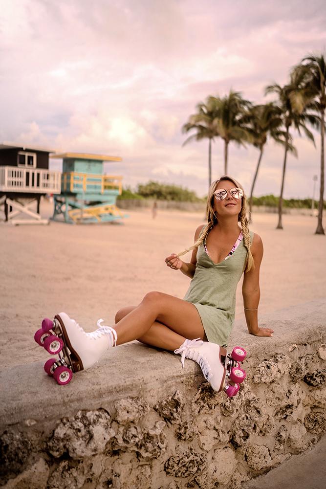 Christie Ferrari wears Speedo swimsuits during Miami Swim Week.