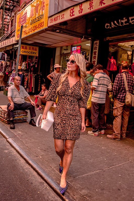 Christie Ferrari, NYC fashion blogger, wears leopard dress from Ronny Kobo for Fall trends special on the leopard trend for fall 2018.