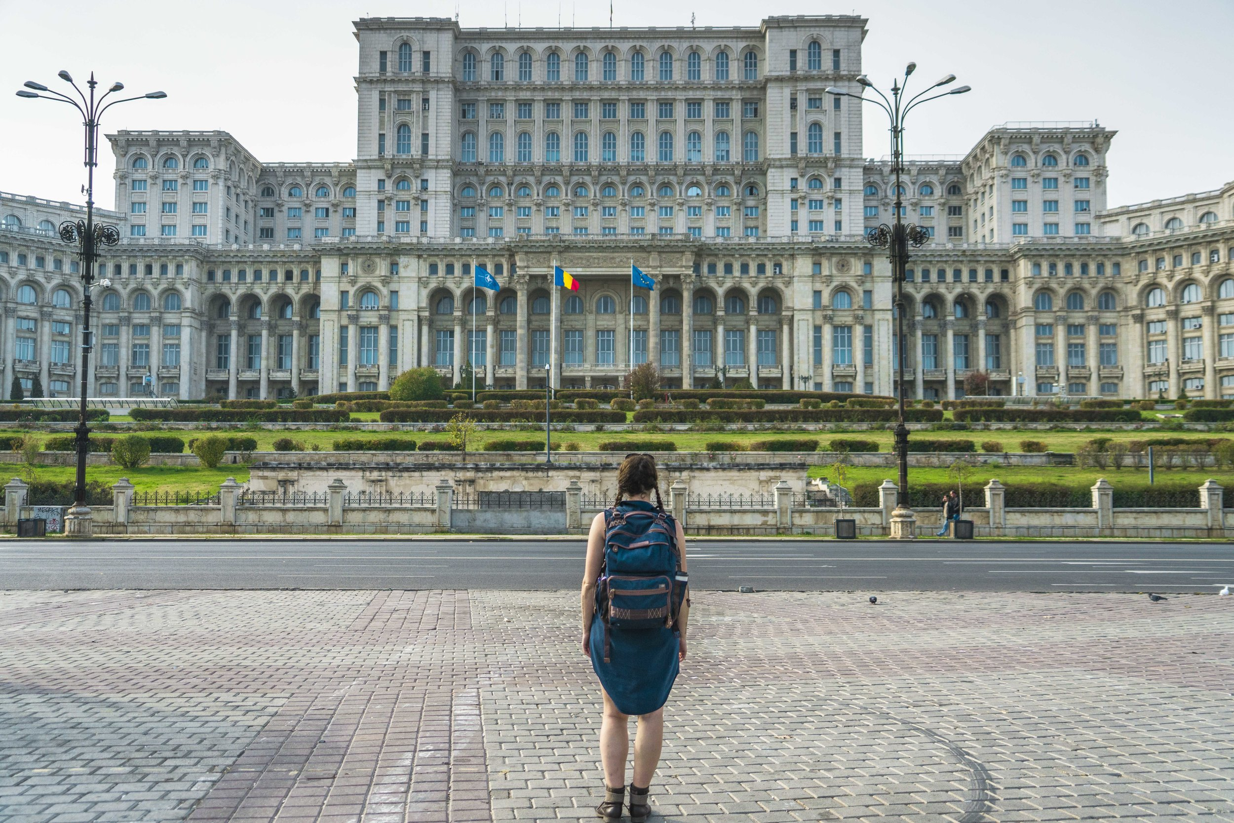 In front of Romanian Parliament in Bucharest