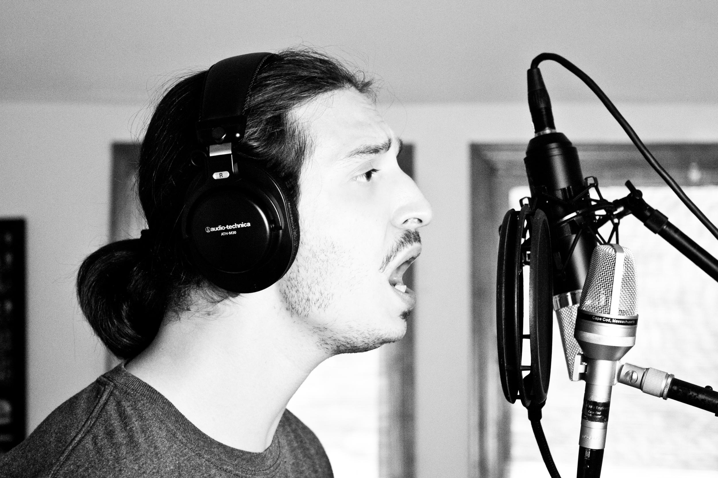 Corey tracking his vocals