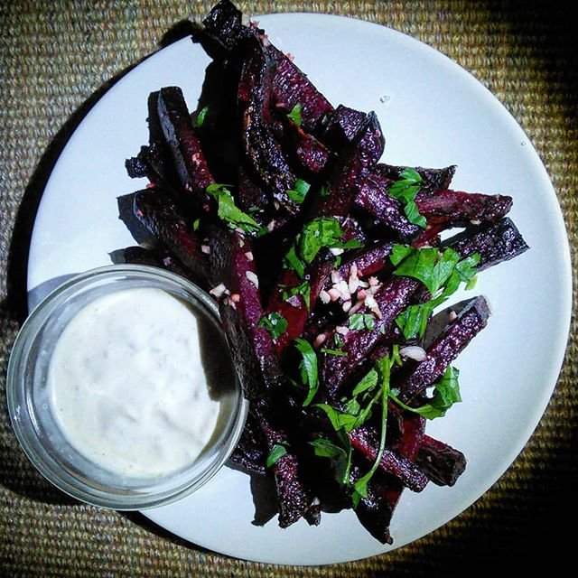 "Good day, all and Happy Sunday. Oven roasted beet ""fries"",garlic, Italian parsley with Lovestuff aioli. #groundupflavorco #lovestufffivepeppersauce #lovestuff #flavorfirst #tastetasticvoyage #beets #fries #ArtonaPlate #food #culinary #cookingelevated  #hotsauce #hotsauceoneverything #foodporn"