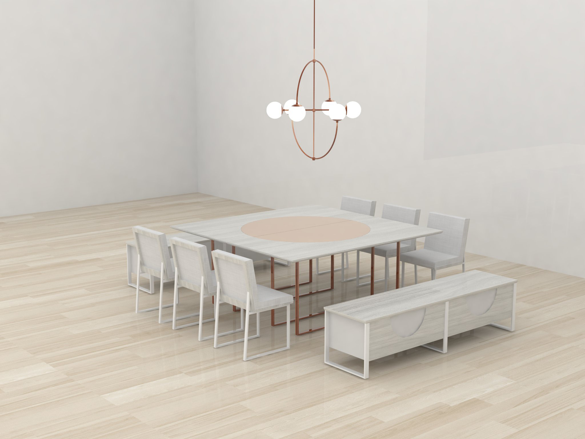 Custom furniture proposals for a high end retail space