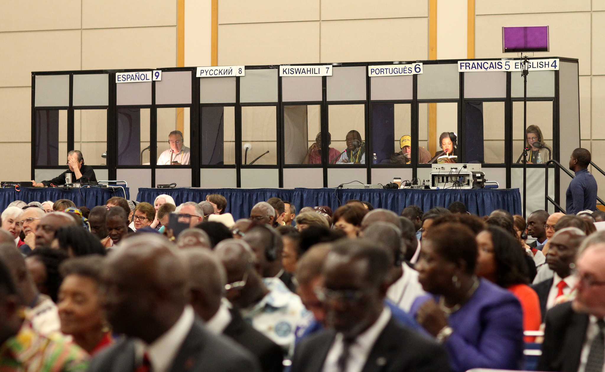 Because delegates traveled from all across the globe to participate in General Conference, translation services are vital.  Photo credit: Kathleen Barry, UMNS