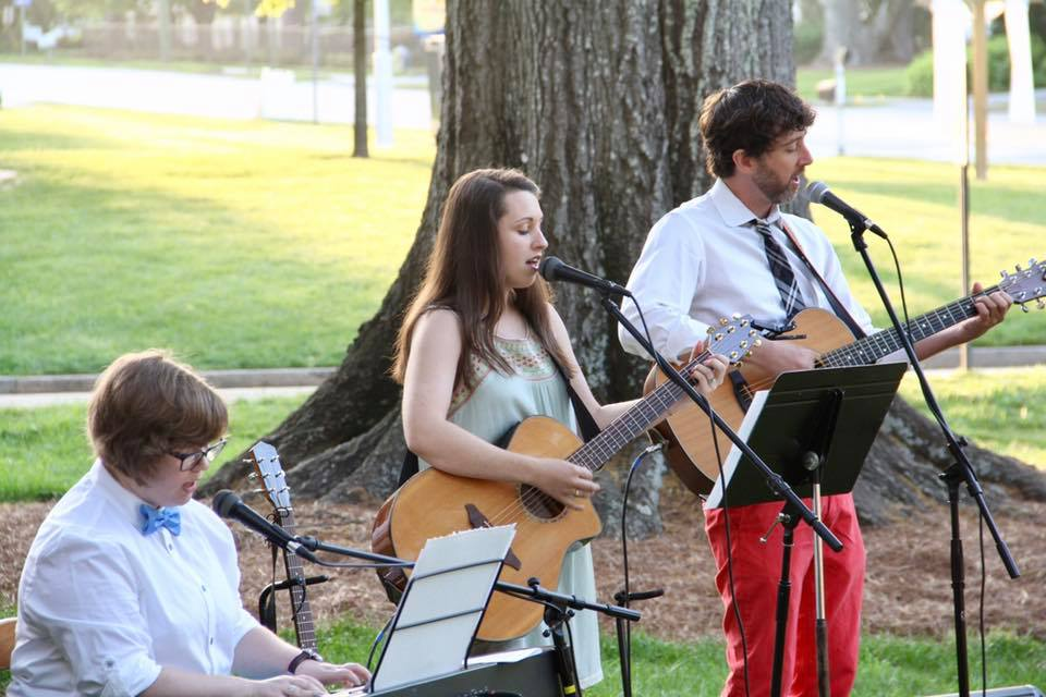 Singing and playing guitar at this year's Easter sunrise service