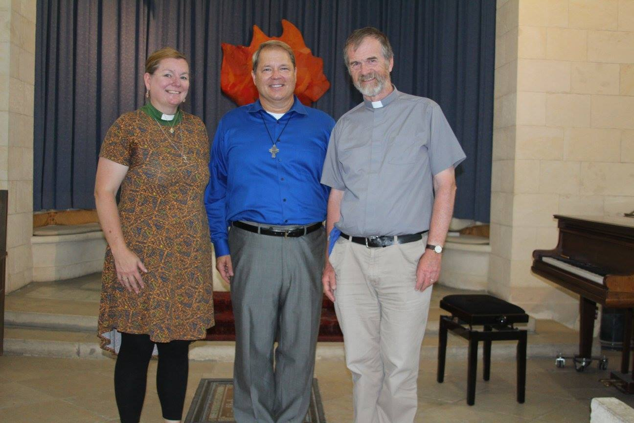 Rev. Kristen Brown, J.R. Atkins, & Rev. John Howard at the Church of Scotland, Jerusalem