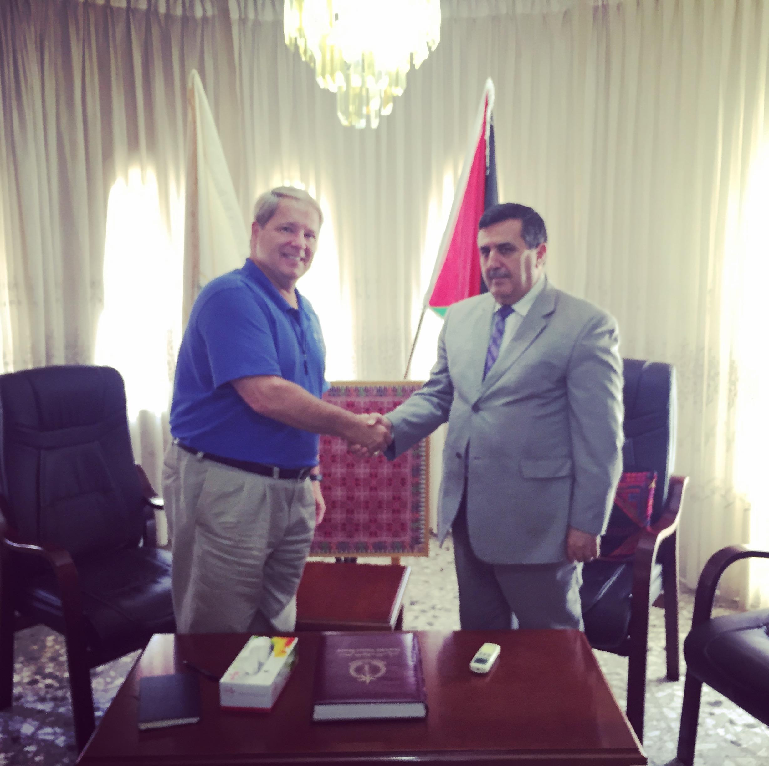 J.R. with the Mayor of Bethlehem, Anton Salaman.