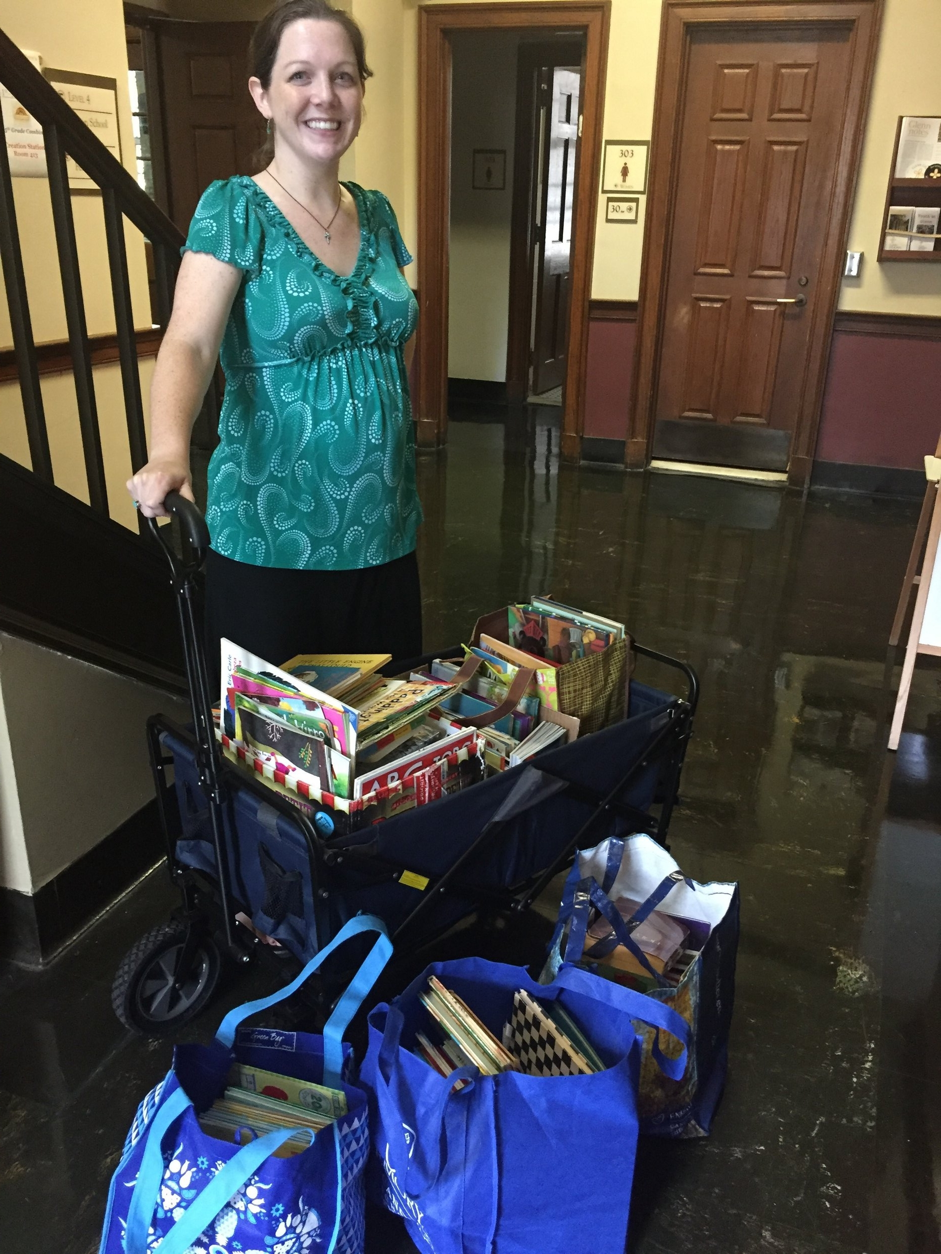 Once per month, volunteers from Glenn serve lunch for 85 women and children who visit the Women's Community Kitchen. You all took our plea to clean out your attics and playrooms to heart! We restocked their book shelves with new and gently used children's books of all reading levels.