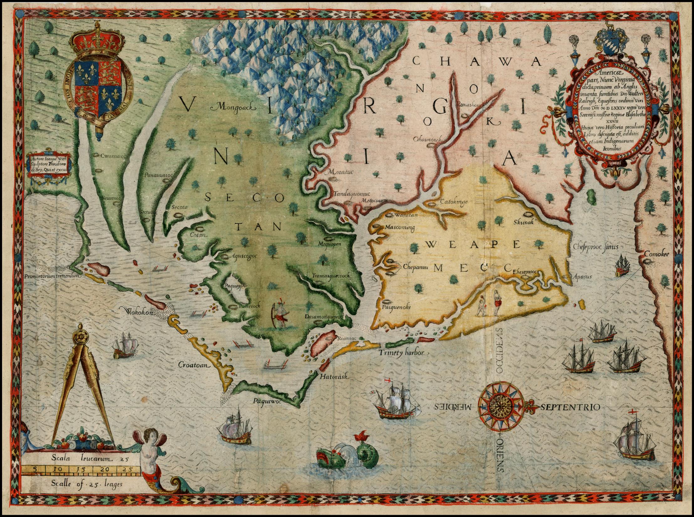 Virginia and Carolina Colonies. John White Exploration map. Circa 1585.