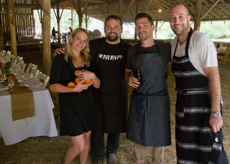 DARLENE AND MIKE MOORE WITH CHEF JACOB SESSOMS OF TABLE ASHEVILLE AND CHEF JARED LEVY OF THE EVELEIGH, LOS ANGELES : EAST COAST/WEST COAST DINNER