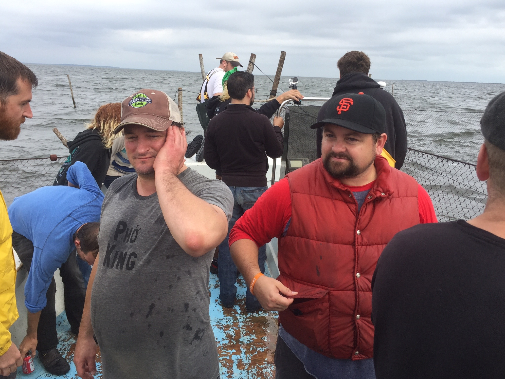 Josh armbruster and mike moore, out at sea, harkers island, nc