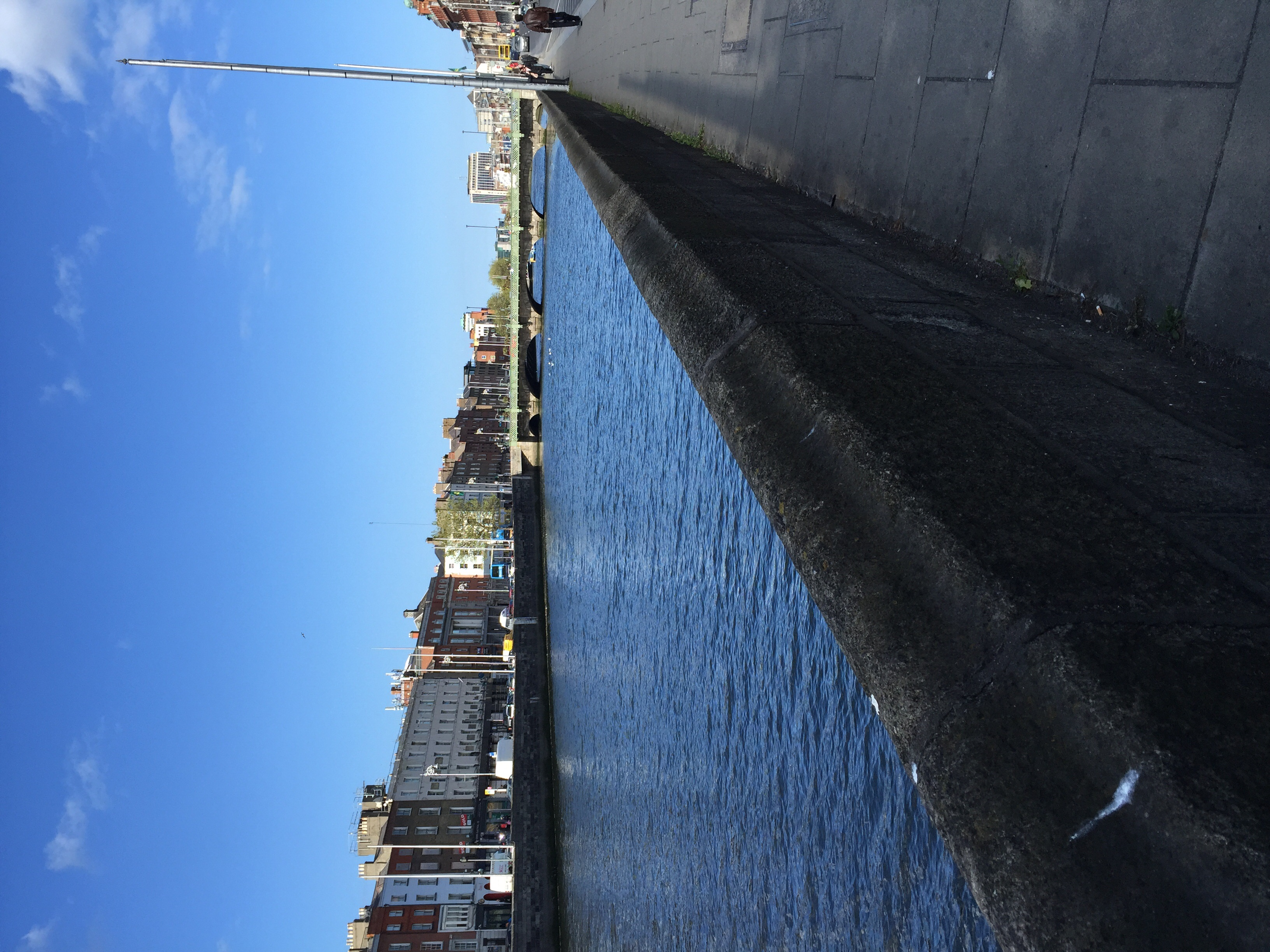 Walking along the River Liffey to Temple Bar area. Dublin has been very easy to get around in so far!
