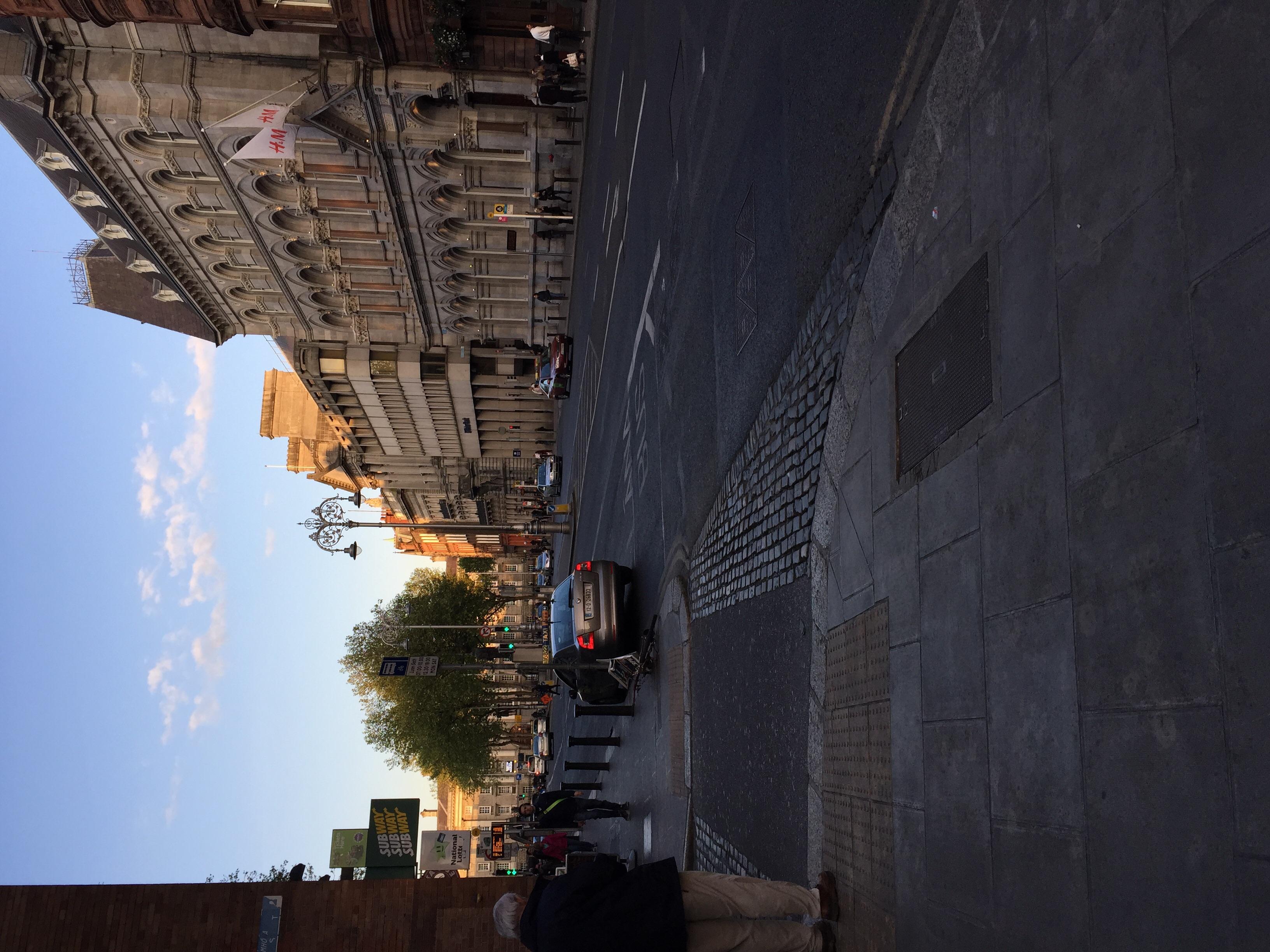 Walking away from Grafton Street the night before.