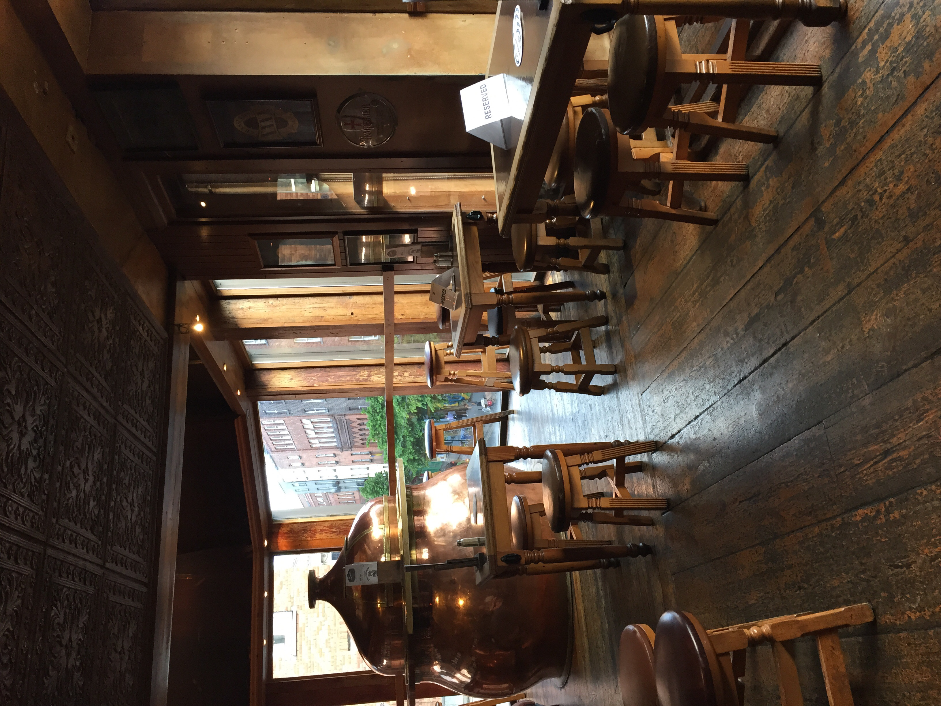 Loved the copper mash tun as a bar table.
