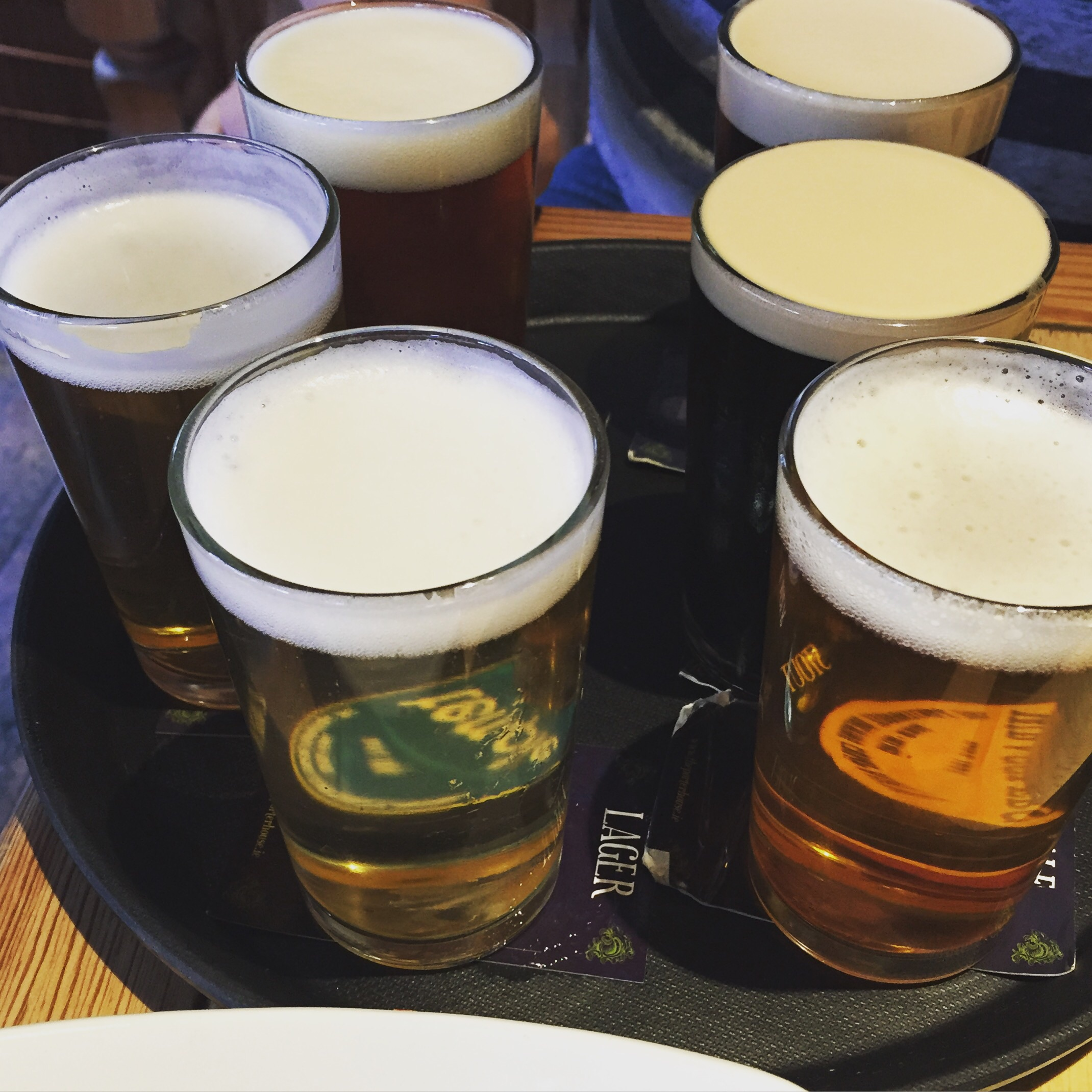 Sampler. Three stouts and three others, a lager, an IPA, and a blonde.