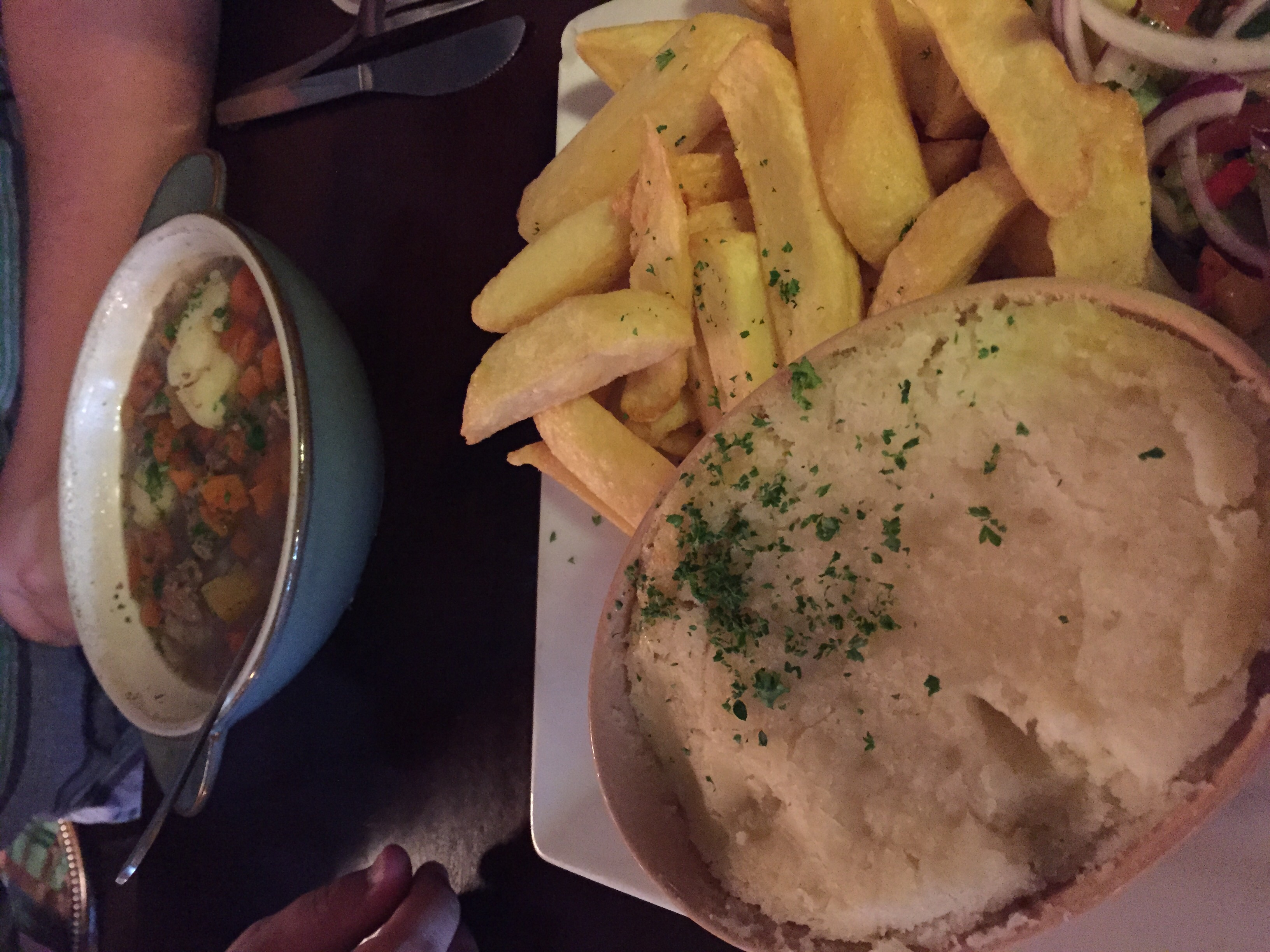 Shepherd's Pie with chips(of course), and Matt's Irish Stew in the back.
