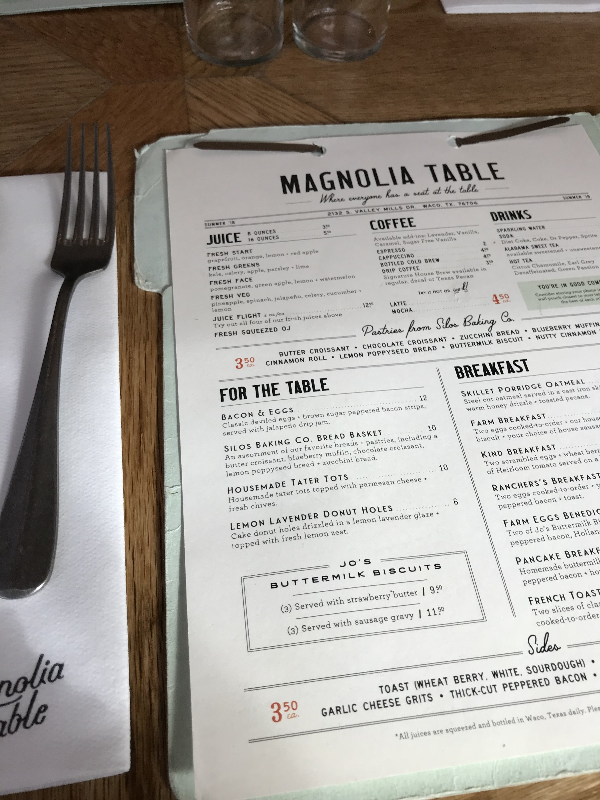So many delicious things on the menu! It was hard to choose. Some of the items can be found to make at home in the Magnolia Table cookbook!