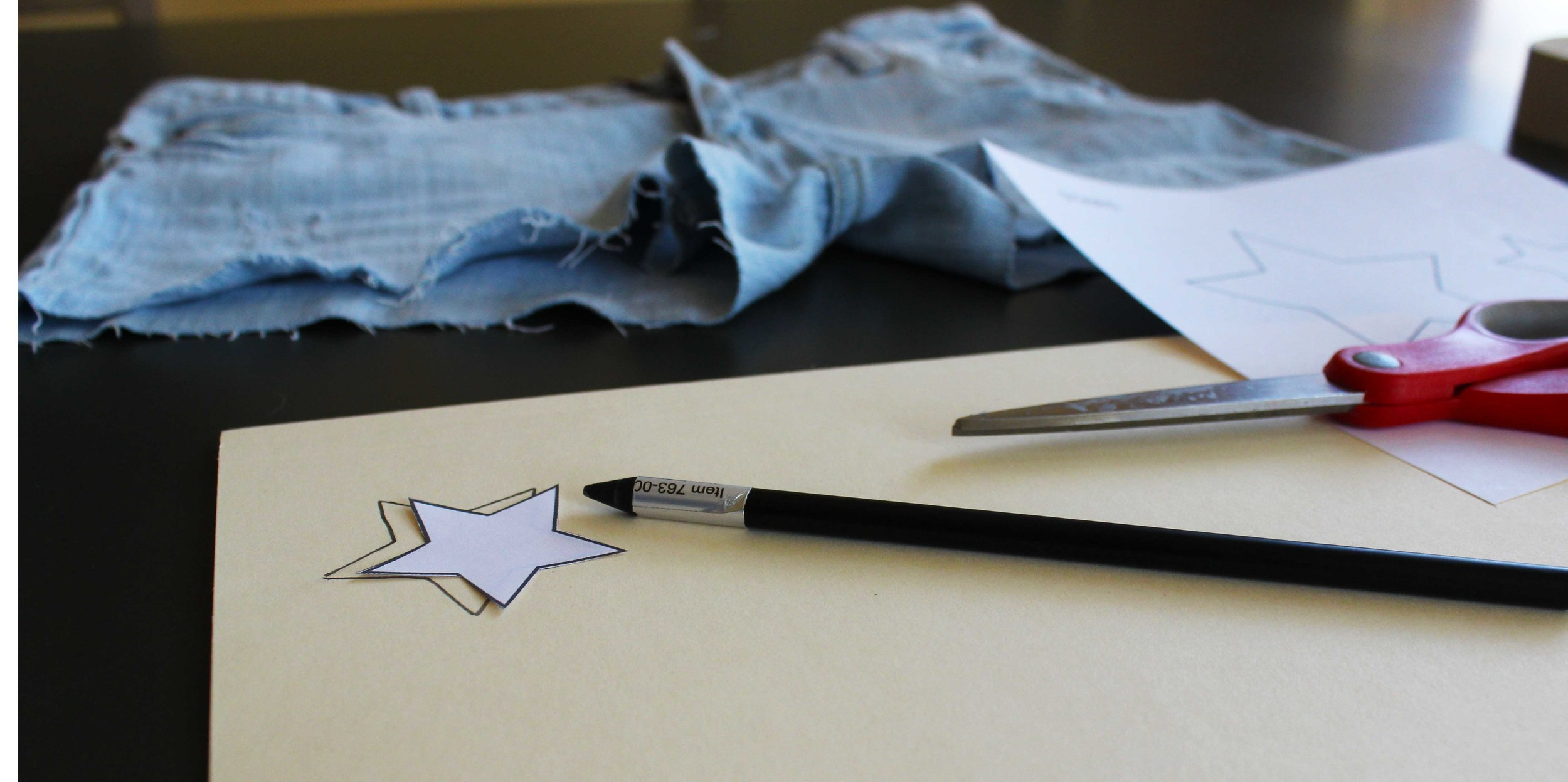 Stencil your star & cut your old pants to transform them into HOT Shorts.
