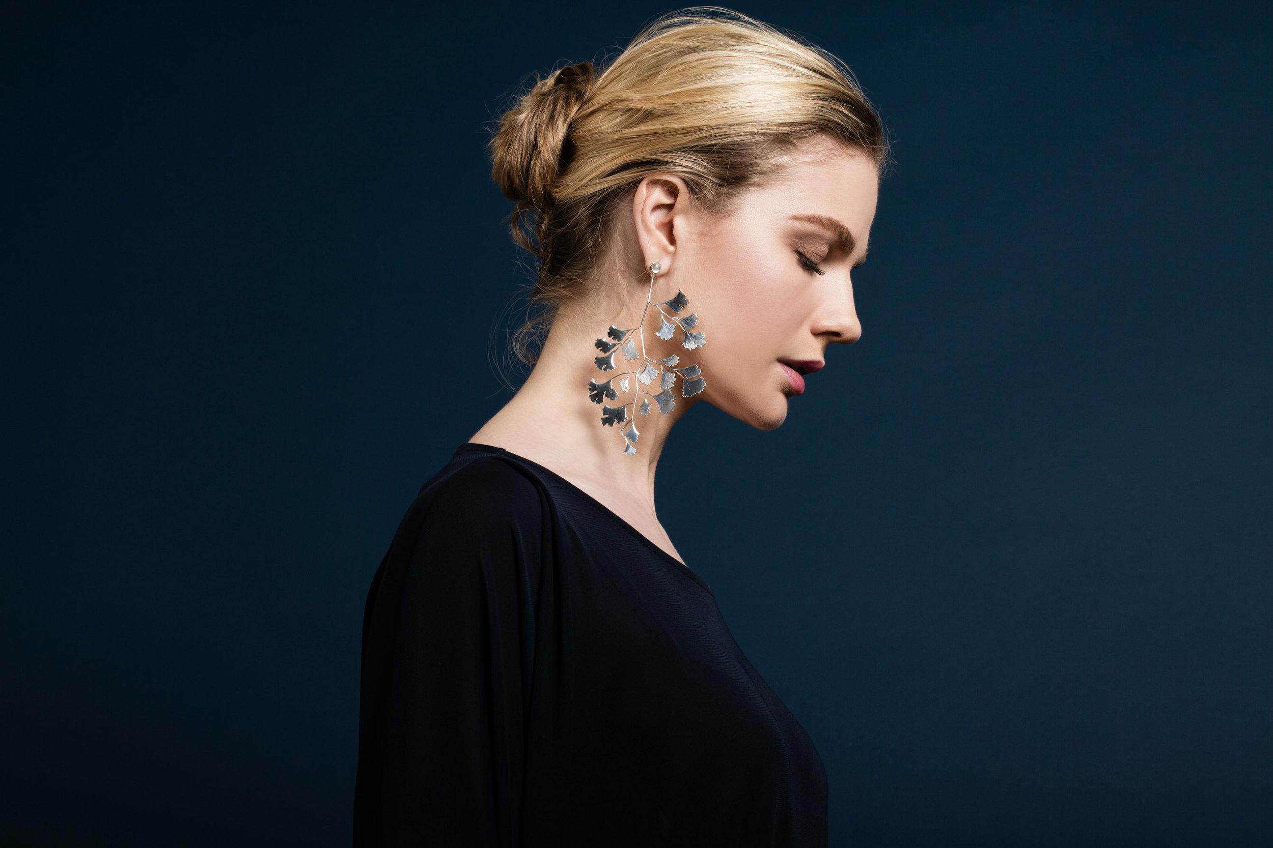 Ginko leaf earrings, silver moonstones