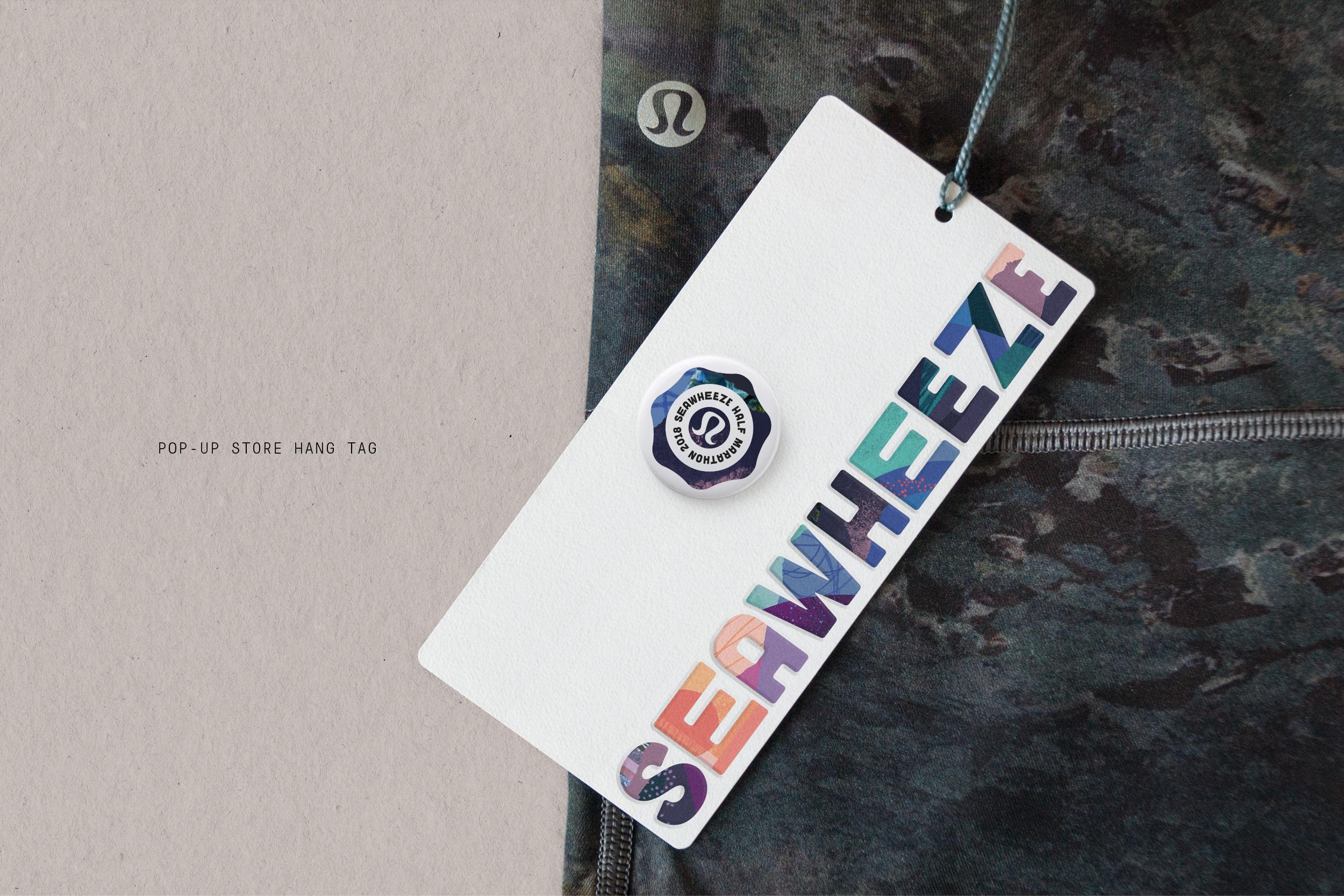 Lululemon SeaWheeze 2018 Half Marathon Branding: hang tag design with fun colourful pattern illustration and type treatment.