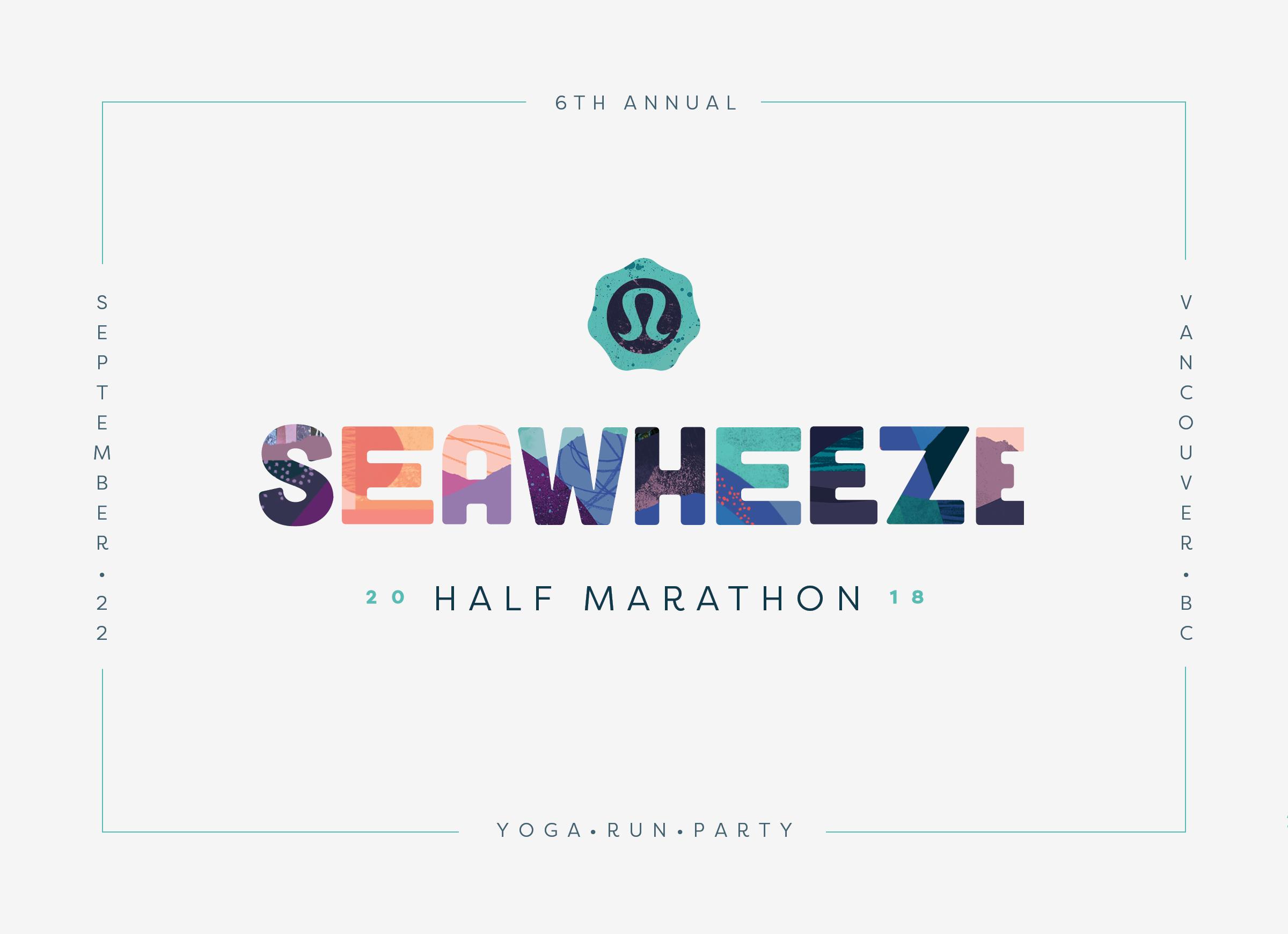 Branding and logo design for the 2018 lululemon seawheeze half marathon by freelance art director Veronica Stark.