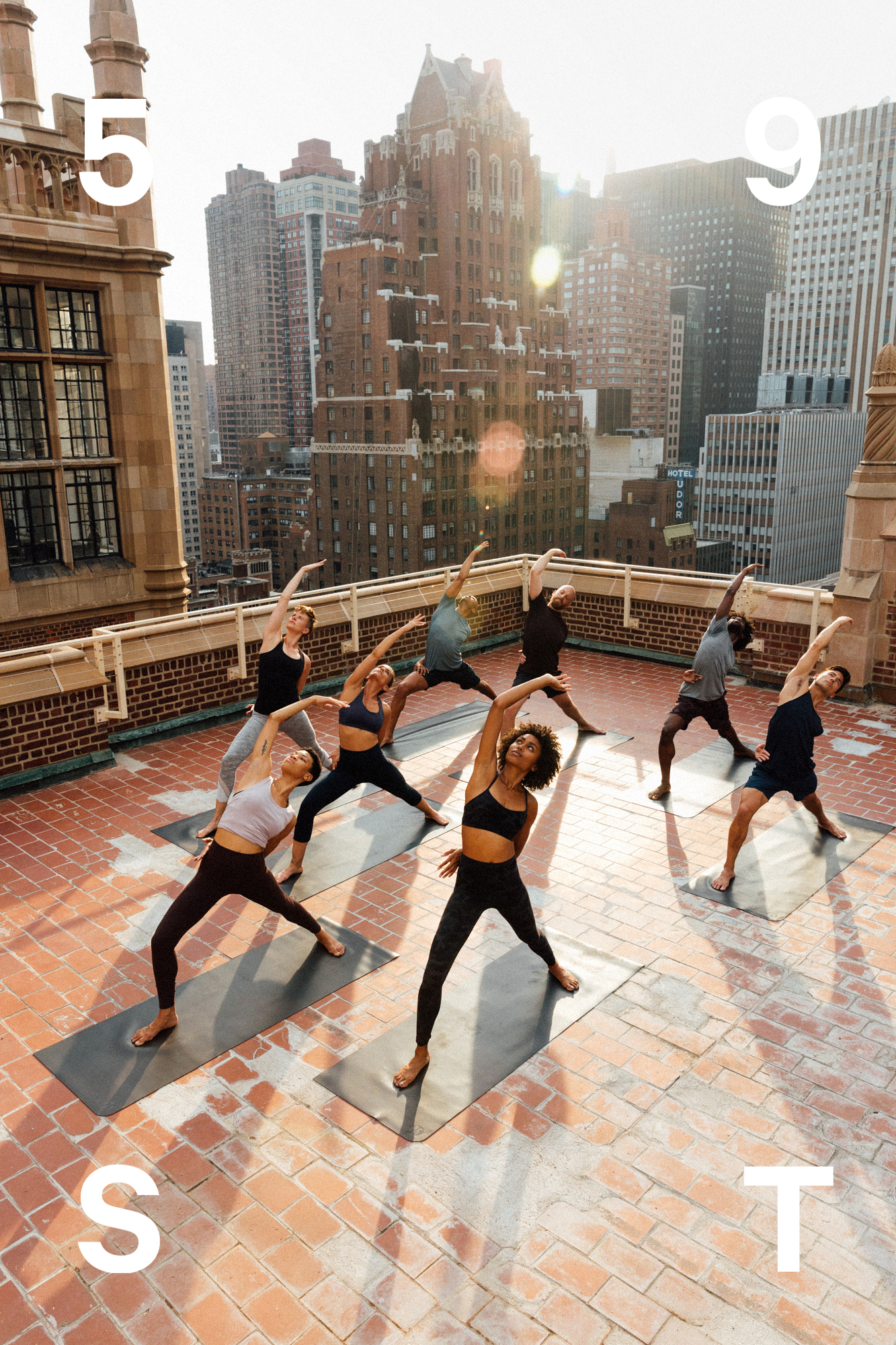 active lifestyle campaign photography with typographic treatment for lululemon new york city
