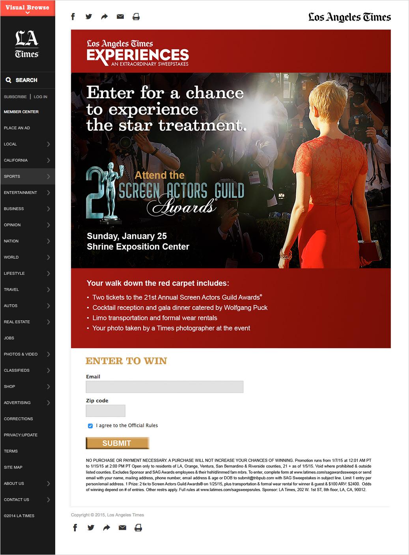 LA Times Sag Awards Sweepstakes  Landing Page