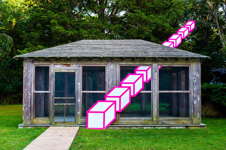 A photo of an old, abandoned cabin in the woods. There is a line of white cubes with bright pink outlines that appear to be going through the cabin's window and off into the air at a diagonal.