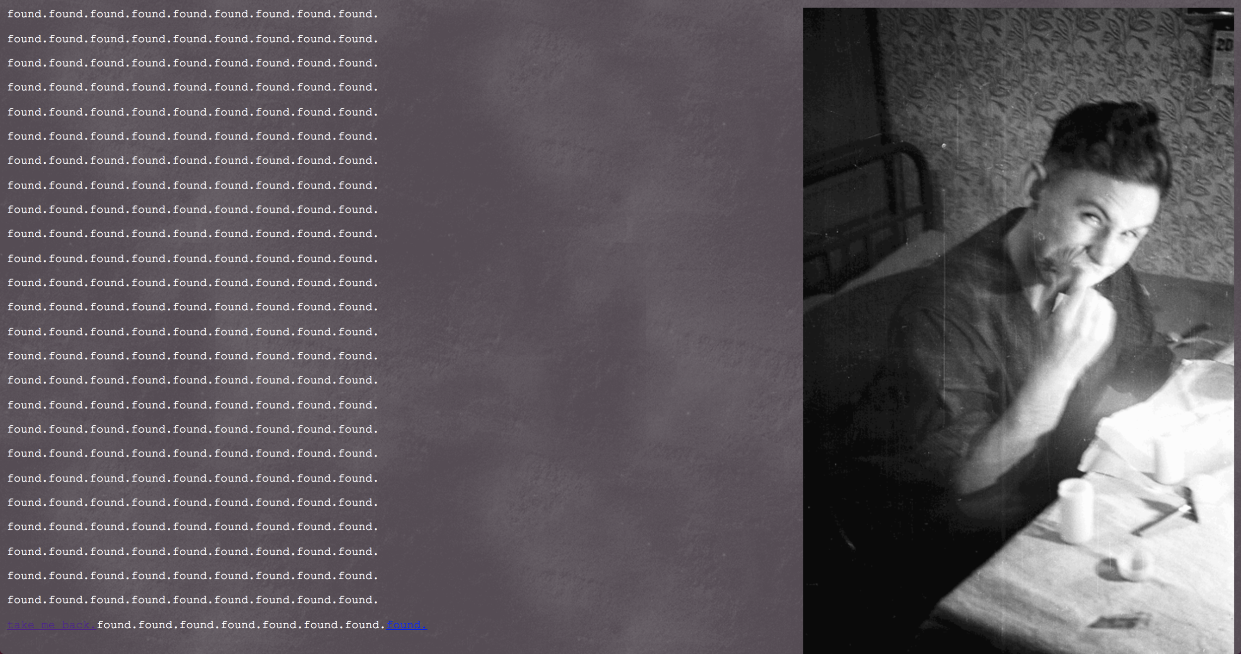 Branching text-story and gif series. Images from archival record of the Dyatlov Pass students.