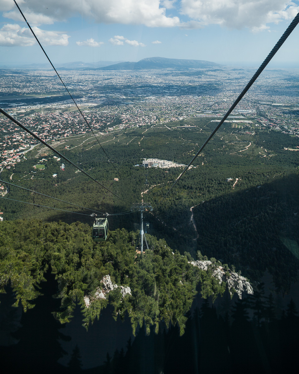 The free-of-charge cable car to the Mount Parnes Casino. View from Mt. Parnitha looking south.