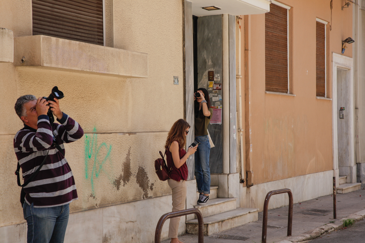 Photographing during  Athens' Modern Movement  photo walk.
