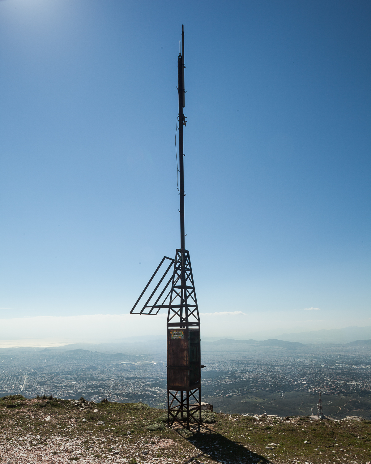 Defunct communications installation near the summit of Penteli at approximately 1,100 meters. View facing southwest.