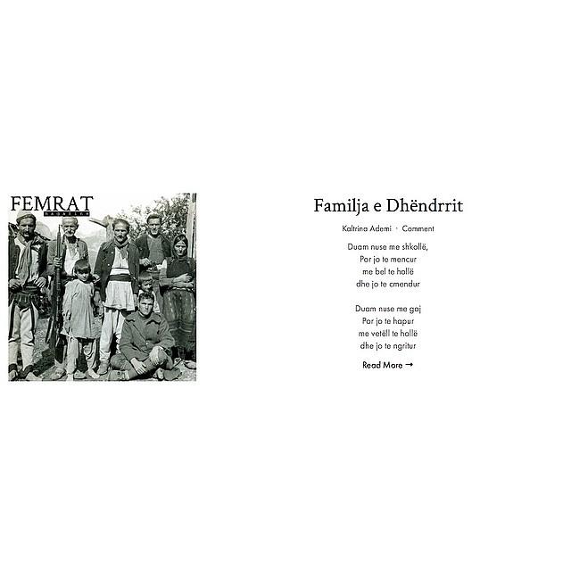 """Kaltrina Ademi's """"Familja e Dhëndrrit"""" is live now on #FEMRAT. Visit our website for the full poem. """"Duam nuse me shkollë, Por jo te mencur me bel te hollë dhe jo te cmendur  Duam nuse me goj Por jo te hapur me vetëll te hollë dhe jo te ngritur"""""""