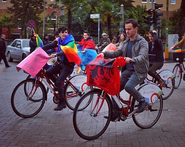 @xhenikaraj + @kristi.pinderi, Albania's leading LGBT activists #FEMRAT #lgbtq #aleancalgbt