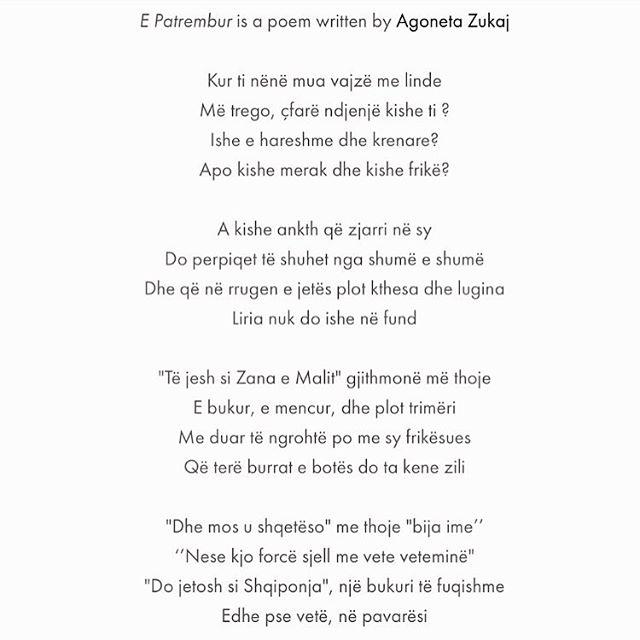 """""""Dhe mos u shqetëso"""" me thoje """"bija ime"""" Nese kjo forcë sjell me vete veteminë"""" """"Do jetosh si Shqiponja"""", një bukuri të fuqishme Edhe pse vetë, në pavarësi -Agoneta Zukaj  #FEMRAT"""