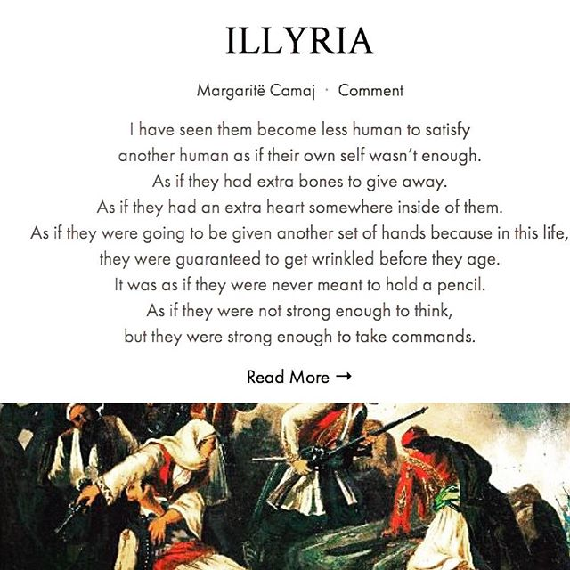 "Live now on #FEMRAT: ""ILLYRIA"" by Margaritë Camaj. Head to our website to read more about Margaritë, her poem, and the significance behind Illyria's feminine roots."