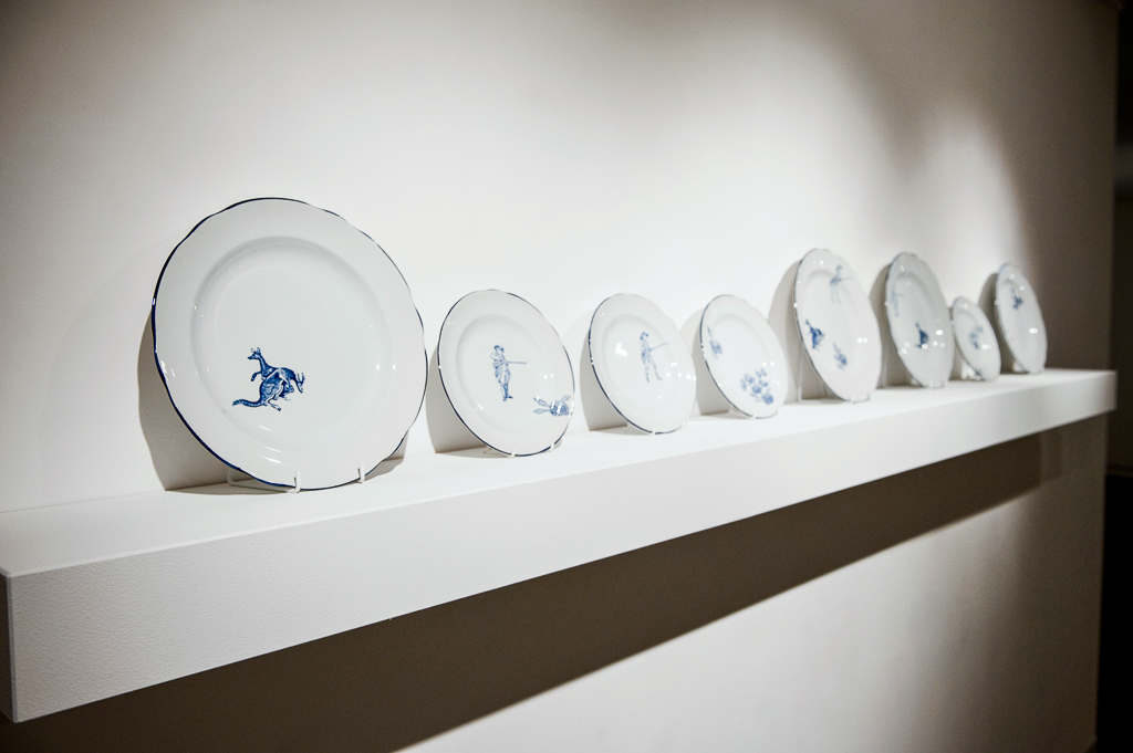 Andrew Nicholls ,  Australian sporting  (detail),   2004, copper-plate engraved Spode decals on Spode bone china (series of 8 plates).
