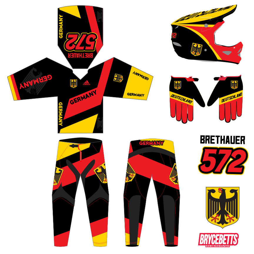 Germany Colombia BMX Racing Olympic Gear Design