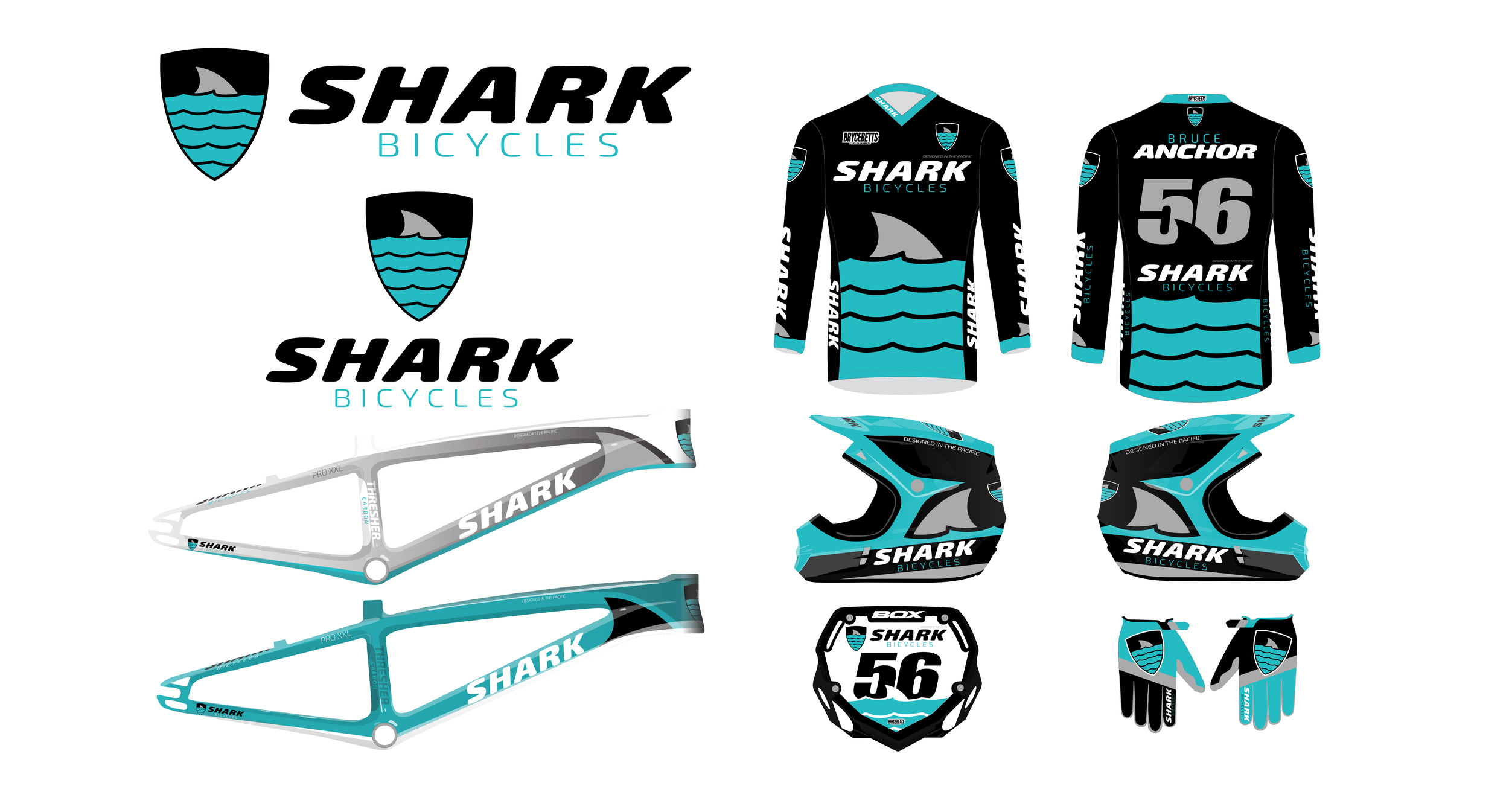 The entire Shark Bicycles line - Logo, Jersey, BMX frame, Helmet, Gloves, numberplate designed by Bryce Betts Designs and inspired by Shark Week