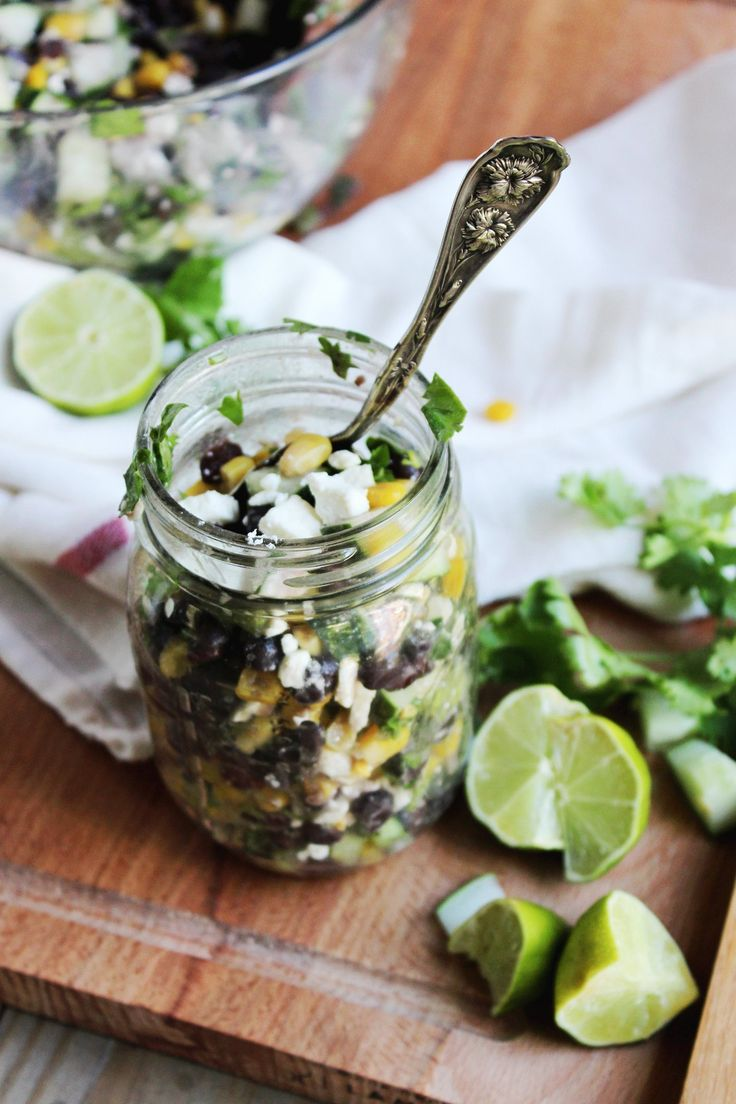 chilled black bean feta and cucumber salad